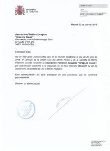 CONCESION MEDALLA DE ORO MERITO FILATELICO